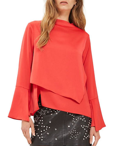 Topshop Split Overlay Ribbed Top-RED-UK 12/US 8