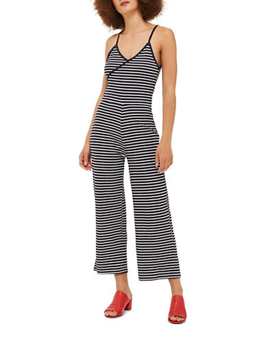 Topshop Striped Wrap Jumpsuit-NAVY BLUE-UK 12/US 8