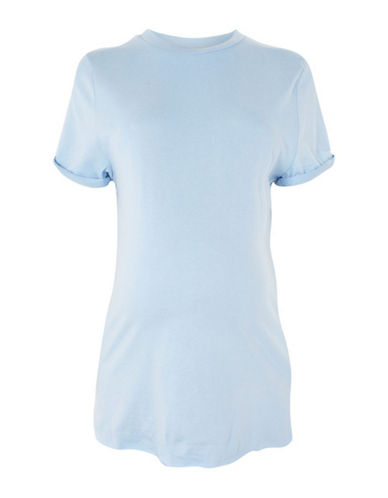 Topshop MATERNITY Cuffed Crew Neck Tee-LIGHT BLUE-UK 8/US 4