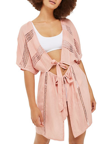Topshop Lace-Insert Kaftan-BLUSH-Small
