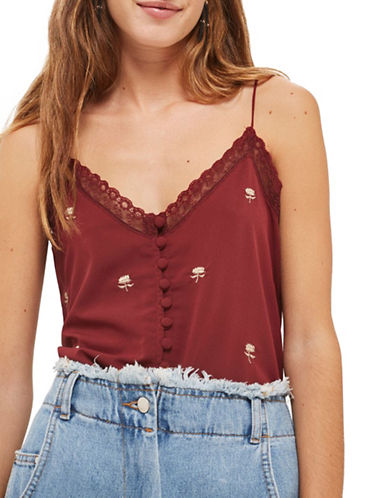 Topshop Embroidered Lace Camisole Top-BURGUNDY-UK 12/US 8