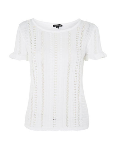 Topshop PETITE Stitchy Knitted T-Shirt-IVORY-UK 6/US 2