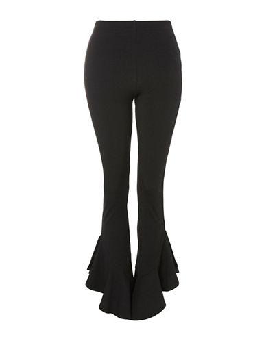 Topshop Petite Mermaid Frill Flare Pants-BLACK-UK 6/US 2