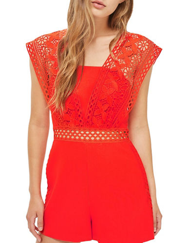 Topshop Lace Strap Playsuit-ORANGE-UK 6/US 2