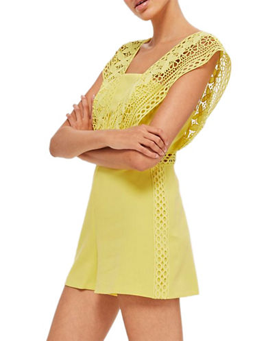 Topshop Lace Strap Playsuit-YELLOW-UK 12/US 8