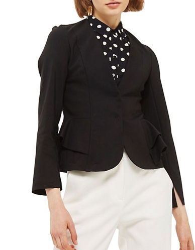 Topshop Peplum Fitted Blazer-BLACK-UK 6/US 2