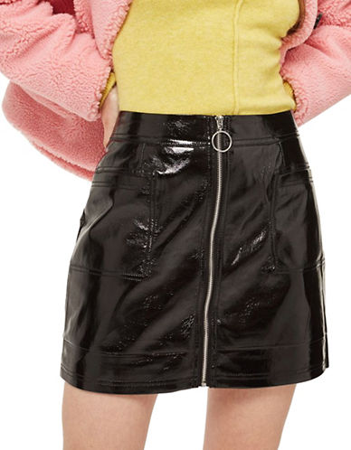 Topshop Cracked Vinyl Zip Mini Skirt-BLACK-UK 8/US 4