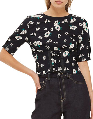 Topshop Floral Print Poplin Corset Top-BLACK-UK 6/US 2