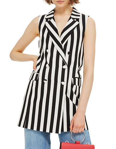 Topshop Humbug Stripe Double-Breasted Blazer Dress-MONOCHROME-UK 8/US 4