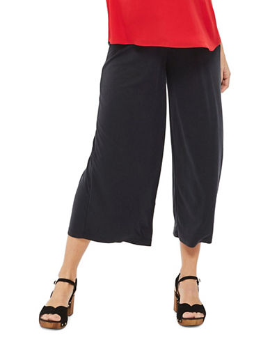 Topshop MATERNITY Cupro Rib Crop Trousers-WASHED BLACK-UK 16/US 12
