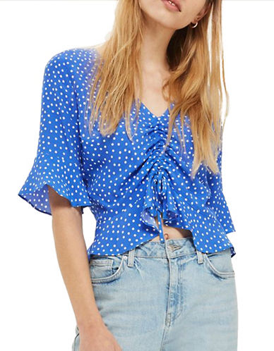 Topshop Polka Dot Ruched Blouse-COBALT-UK 10/US 6