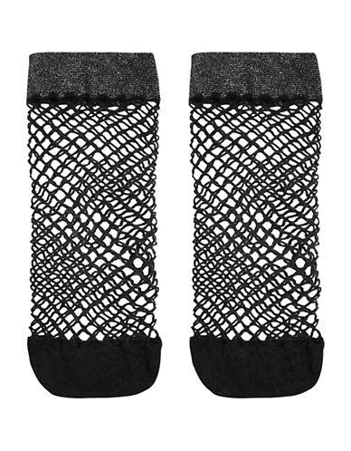 Topshop Glitter Welt Fishnet Ankle Socks-SILVER-1