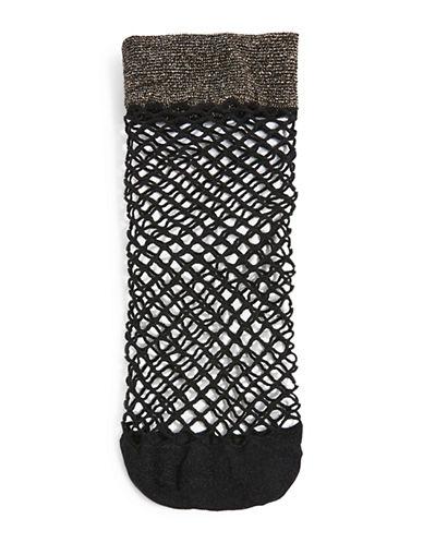 Topshop Glitter Welt Fishnet Ankle Socks-GOLD-1