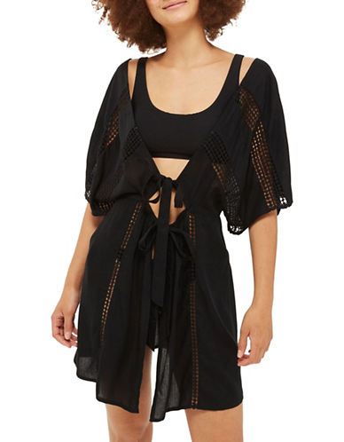 Topshop Lace-Insert Kaftan-BLACK-Medium