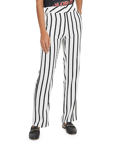 Topshop Humbug Stripe Slouch Trousers-MONOCHROME-UK 10/US 6