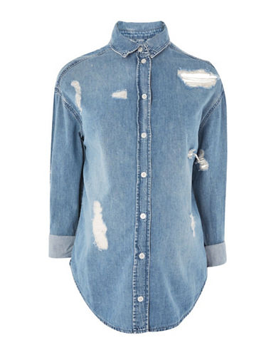 Topshop MATERNITY Ripped Denim Shirt-MID DENIM-UK 14/US 10