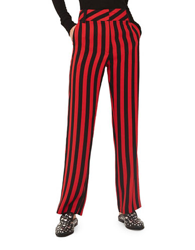 Topshop Stripe Wide Trousers-RED-UK 6/US 2