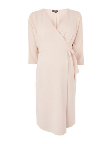Topshop MATERNITY Wrap Midi Dress-BLUSH-UK 8/US 4