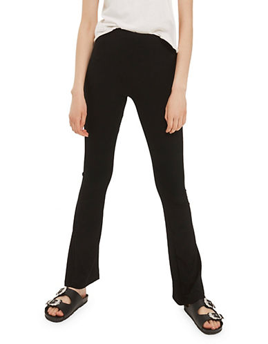 Topshop TALL Skinny Ribbed Flared Pants-BLACK-UK 12/US 8