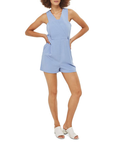 Topshop Roxy Pinafore Romper-LIGHT BLUE-UK 10/US 6