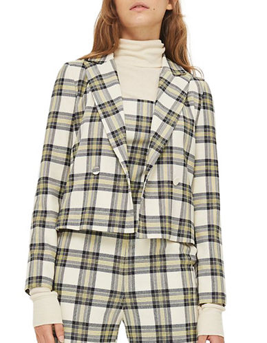 Topshop Checked Crop Jacket-GREY-UK 14/US 10