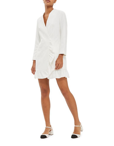 Topshop Frill Hem Blazer Dress-IVORY-UK 12/US 8