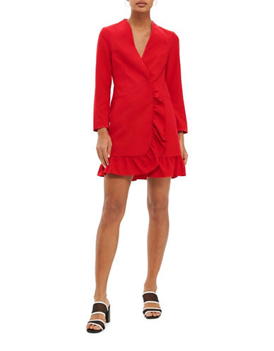 Topshop Frill Hem Blazer Dress-RED-UK 8/US 4