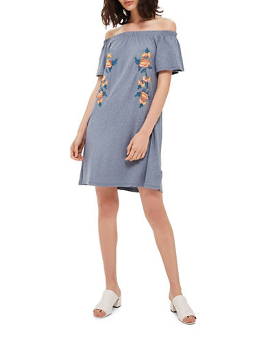 Topshop Embroidered Bardot Dress-BLUE-UK 8/US 4