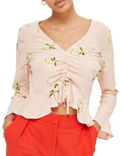 Topshop Ruched Floral Print Blouse-LIGHT PINK-UK 8/US 4
