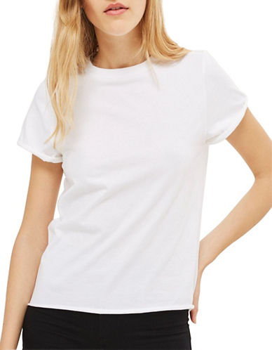 Topshop Cuffed Crew Neck Tee-WHITE-UK 6/US 2