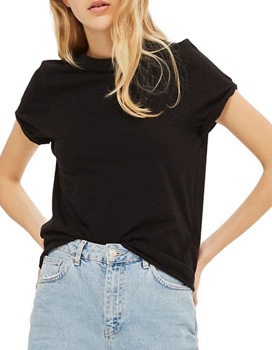 Topshop Cuffed Crew Neck Tee-BLACK-UK 8/US 4