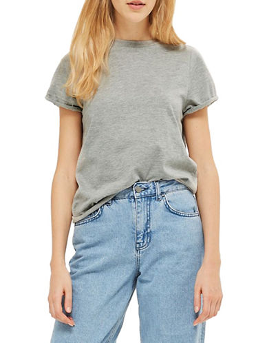 Topshop Roll Back Tee-GREY MARL-UK 10/US 6