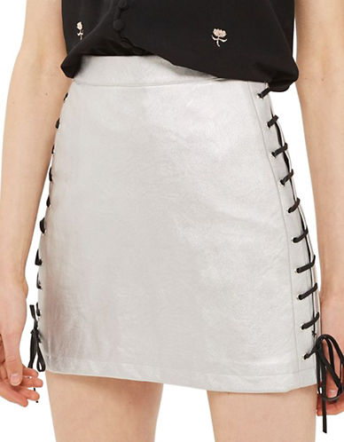 Topshop Lace-Up Faux Leather Mini Skirt-SILVER-UK 12/US 8