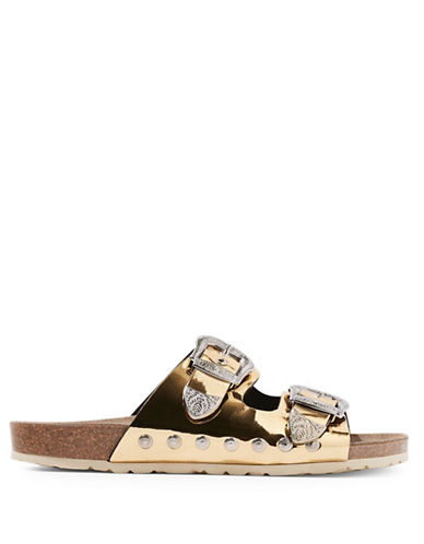 Topshop Falcon Studded Metallic Sandals-GOLD-EU 40/US 9.5