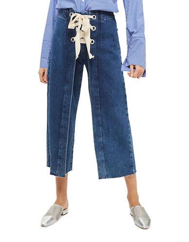 Topshop MOTO Lace-Front Cropped Wide-Leg Jeans 30-Inch Leg-DENIM-30X30