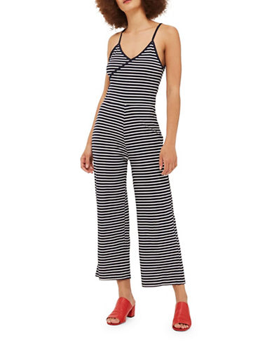 Topshop Striped Wrap Jumpsuit-NAVY-UK 6/US 2