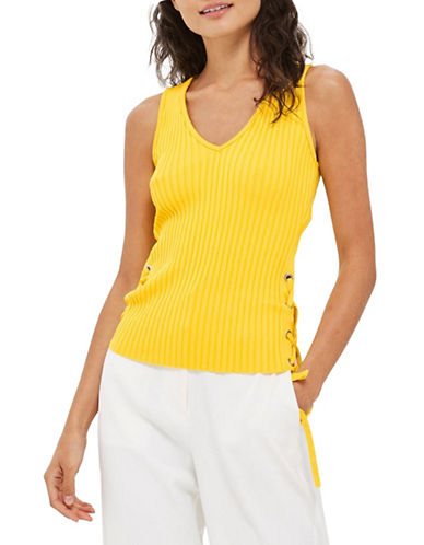 Topshop Calibrate Knit Top-YELLOW-UK 10/US 6