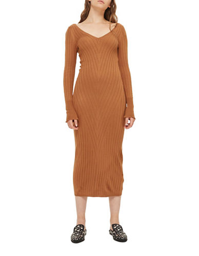 Topshop Wide Ribbed Bodycon Dress-CAMEL-UK 14/US 10