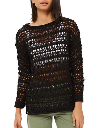 Topshop Stitch Detail Sweater-BLACK-UK 12/US 8