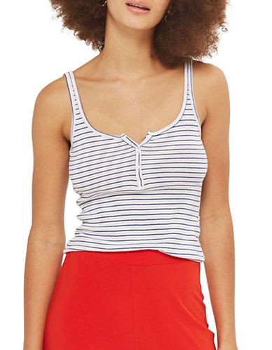 Topshop Stripe Button Front Vest Top-MULTI-UK 8/US 4
