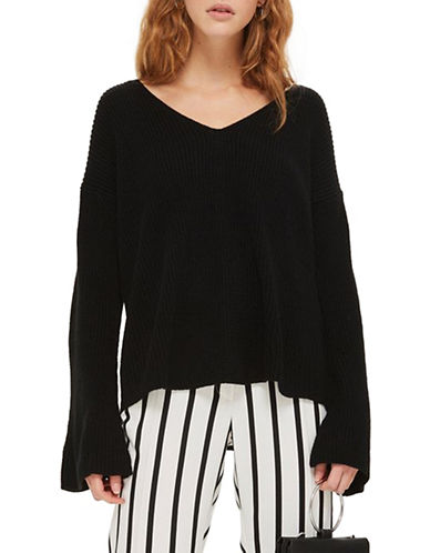 Topshop Lattice Back Sweater-BLACK-UK 14/US 10