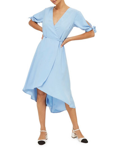 Topshop Emma Tie-Sleeve Wrap Dress-LIGHT BLUE-UK 6/US 2