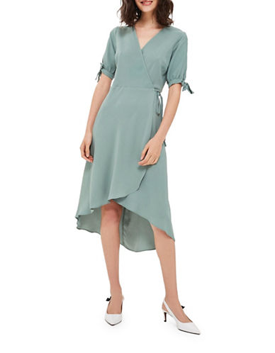 Topshop Emma Tie-Sleeve Wrap Dress-DARK GREEN-UK 10/US 6