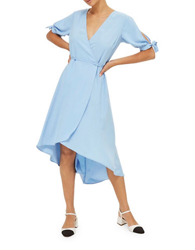 Topshop Emma Tie Sleeve Wrap Dress-LIGHT BLUE-UK 8/US 4
