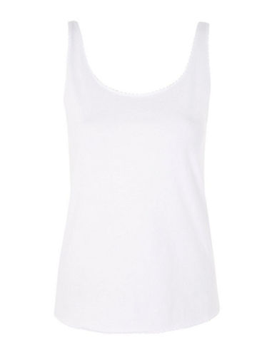 Topshop PETITE Mini Scallop Tank-WHITE-UK 10/US 6