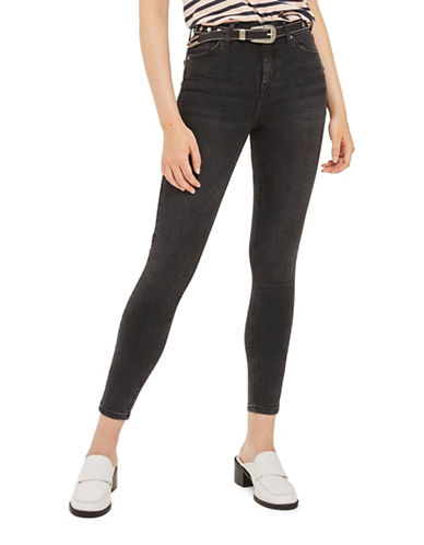 Topshop MOTO Washed Jamie Jeans 30-Inch Leg-WASHED BLACK-24X30