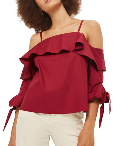 Topshop Ruffle Cold-Shoulder Top-BURGUNDY-UK 12/US 8