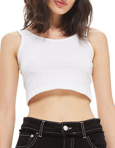 Topshop PETITE Lulu Crop Camisole-WHITE-UK 4/US 0