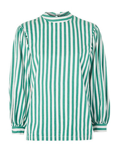 Topshop Striped Balloon-Sleeved Top-GREEN-UK 12/US 8