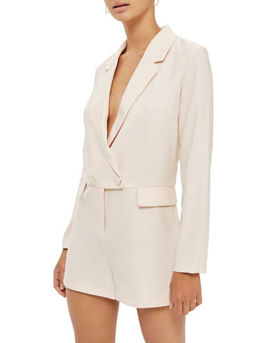 Topshop Double-Breasted Playsuit-PEACH-UK 10/US 6